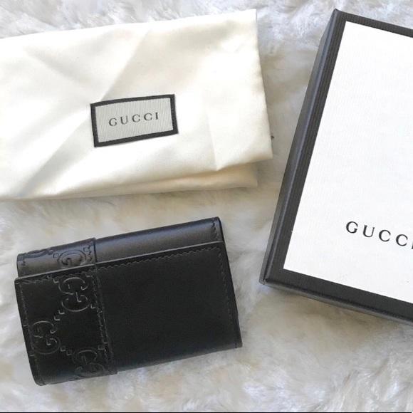 c386ec2d157 NEW Gucci Key Holder Black Wallet Case Guccissima